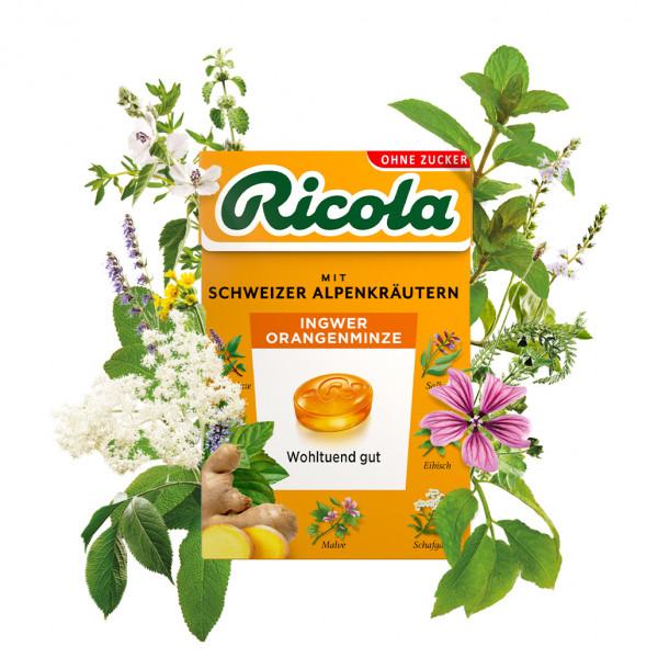 Ricola Ingwer Orangenminze, 50g Box