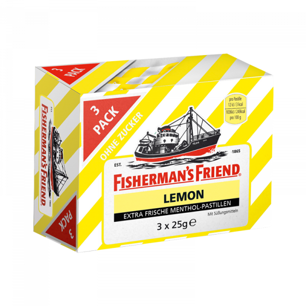 Fisherman's Friend Lemon ohne Zucker 3er Pack